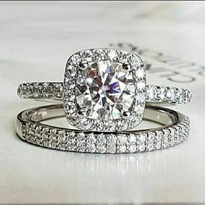 2PC Moissanite Diamond Ring sz5,7